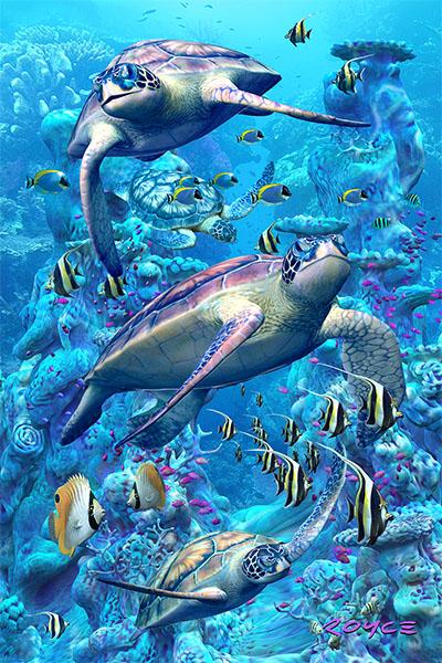 Coral Turtles Flip Postcard